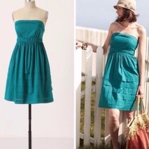 ANTHROPOLOGIE Teal Green Fit Flare Strapless Dress